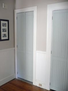 baths, closet doors, blue doors, closets, hous, bedrooms, blues, bifold door, door frames