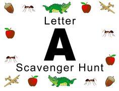 letter ad, letter idea, scavenger hunts, scaveng hunt, abc letter