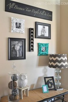 Home Decor Ideas #homedecor #gallerywalls. I love the colours; perfect for my house. Just add a little yellow too...