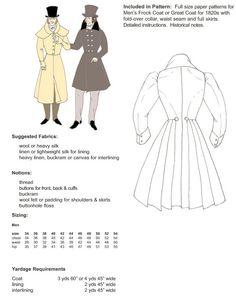 LEVITA-  La  capa de hombro opcional. Simple o doble botonadura,  con puños estrechos, faldas adjuntos, y la capa de hombro opcional. En la década de 1820, cuando sastres añadido una costura de la cintura al Levita 18thC, el Levita siglo 19 nació! Estos patrones son para Levita una Hombres o capa superior de la década de 1820 con puños estrechos, faldas anchas adjuntos, y la capa de hombro opcional. Versiones largas hasta la rodilla