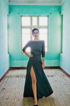Maxi green dress with deep cut by NelliUzun on Etsy, $180.00
