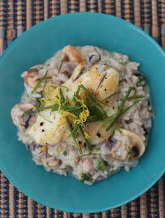 Fish and mushrooms risotto