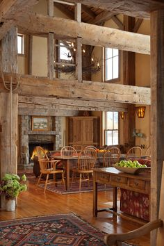 Rustic, rich, cabin dining room.