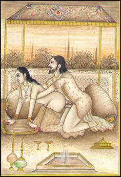 Classic Indian miniature showing sexual  practise. erot art