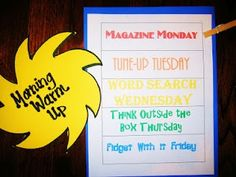 Morning Work Warm Ups - fun & creative activities to get your students' minds going - from a 1st grade blog