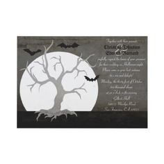 Gorgeous and spooky Halloween wedding invitations with a full moon and a spooky barren tree. There are also bats circling the tree giving it an ominous look. #halloween #invites #invitations #bats