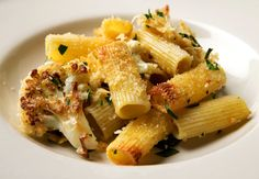 Rigatoni and Cauliflower al Forno. For gluten free, omit pasta and increase cauliflower.