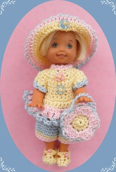 """Crochet Doll Clothes Summer Breeze Shorts Set for 4 ½"""" Kelly & same sized dolls"""