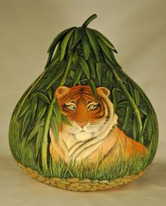 lion, gourd art, art crafts, decor gourd, tiger