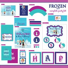 Frozen Inspired Beach Pool Party Complete Party Kit - Birthday - Kids - DIY Printable - Elsa - Anna - Olaf - Kristoff - Swimming on Etsy, $30.00