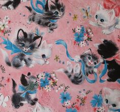 Vintage Hallmark Kittens Gift Wrap Pink | Flickr - Photo Sharing!