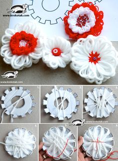 DIY cardboard flower loom - yarn flowers diy Good extra challenge activity for when we do some weaving