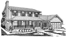 Home Plans HOMEPW23526 - 1,996 Square Feet, 4 Bedroom 2 Bathroom Farmhouse Home with 2 Garage Bays
