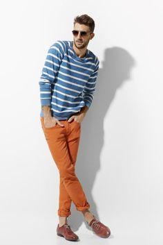 Orange jeans, perfect for fall.