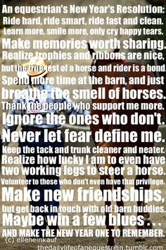 An Equestrian's New Year's Resolution