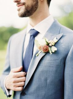 Light grey-blue suit with blue tie. Photography by jenhuangphotography.com, Floral Design by laviencocorosie.com #groom #groomsman. I think I finally found the suit color I want for my wedding love this!