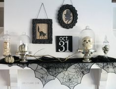 Skull Terrariums - 25 Spooky Halloween Mantels and   DIY Tips