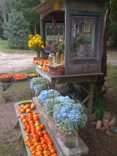 farmstand, table style without a building. Love the antique windows on sides.