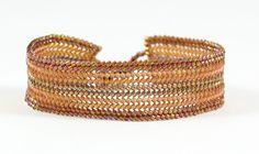 Petite Topaz Beaded Herringbone Bracelet, Bronze Delica Bead Jewelry. $54.00, via Etsy.