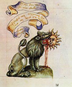 Green Lion Eating the Sun, from the Rosarium Philosophorum, 1550.
