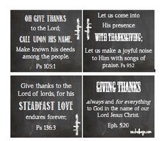 Printable Bible Verse Cards for Thanksgiving Day or ANY day we need the reminder to be thankful!