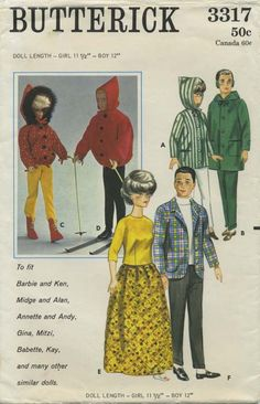 "Vintage Barbie™ Doll Clothes Sewing Pattern | To fit Barbie and Ken, Midge and Alan, Annette and Andy, Gina, Mitzi, Babette, Kay, and many other similar dolls | Butterick 3317 | Year 1964 | Doll Length - Girl 11½"" - Boy 12"""