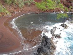 Hana red sand beach in Maui, Hawaii