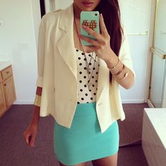 Colorful outfit, love the mint green skirt