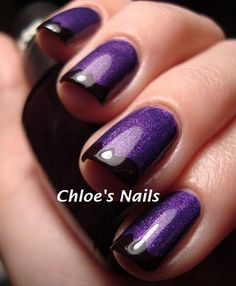 purple sparkle with black tip nails