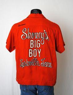 Shoneys Big Boy Orange Bowling Shirt - Nashville TN - Fabulous Fancy Embroidery - RARE 1960s Vintage - Men Medium