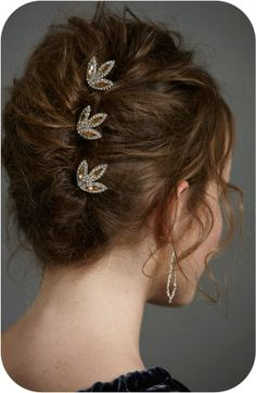 Sweet and Lovely Life | New Year's Eve Party Hair. Pretty jeweled barrettes.