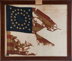 This guidon of a company of the 5th U. S. Cavalry was at Appomattox During the Surrender 9 April, 1865. Captain Julius W. Mason commanded the 5th Cavalry as H. Q. Escort to General Grant. After the War Mason gave this guidon to Col. Rob't Orr of the 61 Pennsylvania Vols., who in turn gave it to Reginald Hart, a famous military collector C. 1890.""