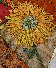 I ❤ crazy quilting & ribbon embroidery . . . crazy quilt block: sunflower, details ~By saralaughs (repinned from Denise M. Enberg, edited to enlarge)