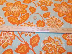 1/2 Half  Yard Free Spirit Fabric Joel Dewberry Heirloom Ornate Floral Amber Orange Gold Yellow 100% Cotton Quilting Sewing Supplies