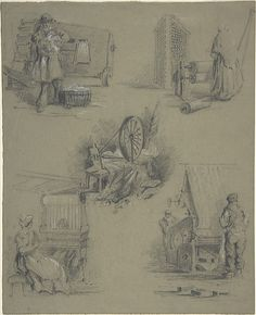 Five drawings showing processes of weaving and spinning