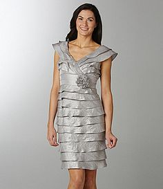 London Times Woman Shimmer Tiered Dress | Dillards.com...possible for bridesmaids? Or too silver?