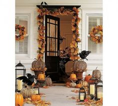 the crow, front doors, fall decorating, fall decorations, 90 fall