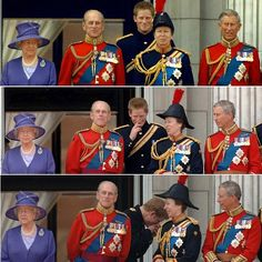 Funny royal family. Laughing. The Queen. Prince Philip. Princess Anne. Prince Charles. Prince Harry. Trouping the colour.
