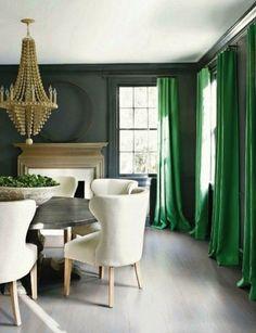 Love the emerald drapes.