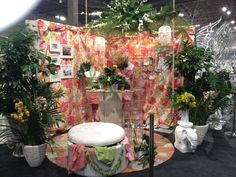 """Our full """"Lilly's Workroom-Studio """" display for Tablescapes at The Chicago Flower & Garden Show. Featuring Lilly Pulitzer Fabric & Product all at Kenneth Ludwig Home Furnishings  www.kennethludwig.com"""