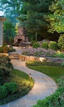 backyard ideas, stone paths, outdoor patios, flower beds, outdoor fireplaces, garden landscaping, landscape designs, fireplace wall, backyard designs