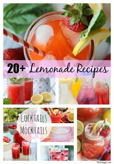 20+ Lemonade Recipes - An awesome collection of some of the most beautiful and delicious lemonade cocktails and mocktails from your favorite bloggers! #Lemonade #drinks #mocktails #cocktails