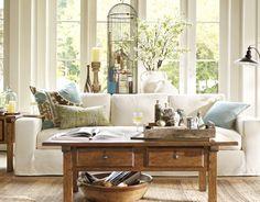 living room decor, potterybarn, coffee tables, idea, living rooms, potteri barn, barn living, live room, pottery barn