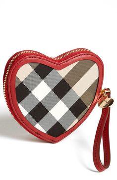 <3 Burberry Heart Wristlet