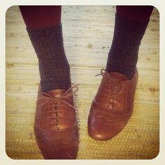 tights + socks + oxfords