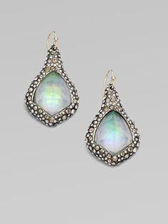 Alexis Bittar  White Quartz Diamond-Shaped Earrings