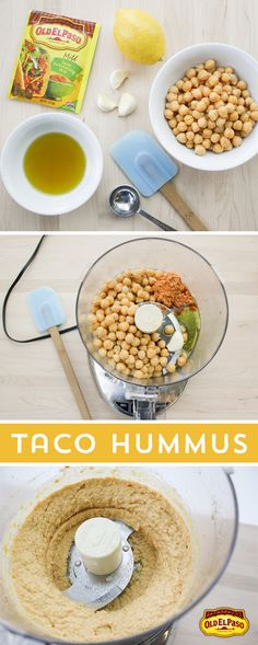 Craving a unique snack? Try this Taco Hummus! Add Old El Paso Taco Seasoning, chickpeas, olive oil, garlic and lemon in your food processor, and voila! Flavorful hummus in under 10 minutes!