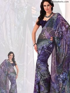 Floral Printed Blue & Grey Shade Saree | $40.00 | http://goodbells.com/saree/floral-printed-blue-and-grey-shade-saree.html