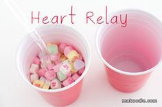 cup, party games, polka dots, valentine day, valentin parti, valentin minut, relay games, valentines day party, valentine party