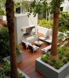 35 Extraordinary Outdoor Deck Designs : 35 Cool Outdoor Deck Designs With White Wall Fireplace Chairs Sofa Table Flower Decor And Hardwood Floor And Garden View